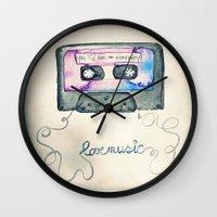 tape Wall Clocks featuring Mix Tape by Monika Strigel