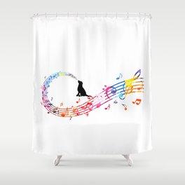 Musical Dog Shower Curtain