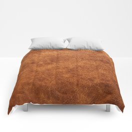 Brown vintage faux leather background Comforters
