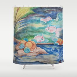 Pond With Squirtle And Goldeen Shower Curtain