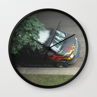 70s Wall Clocks featuring Smokin'! ~ 70s-ish van by helene smith photography