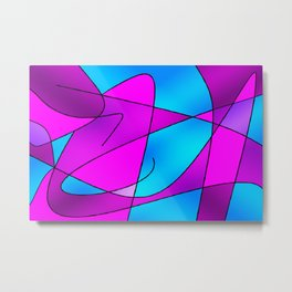 ABSTRACT CURVES #2 (Purples, Violets, Fuchsias & Turquoises) Metal Print