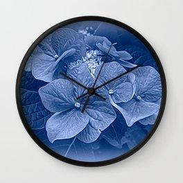 Hydrangea in Blue Wall Clock