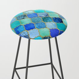 Cobalt Blue, Aqua & Gold Decorative Moroccan Tile Pattern Bar Stool