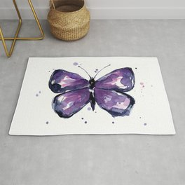 Purple Butterfly Watercolor Abstract Animal Art Rug