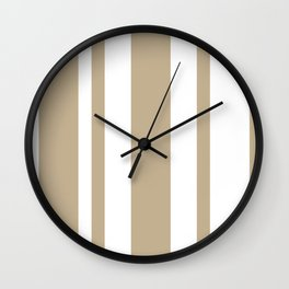 Mixed Vertical Stripes - White and Khaki Brown Wall Clock