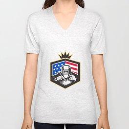 Welder Arc Welding USA Flag Crest Retro Unisex V-Neck