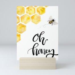 Oh Honey Watercolor Honey Bee Print Mini Art Print