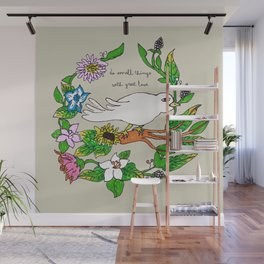 Tarachand's Floral Wreath and Bird with Mother Teresa quote Wall Mural