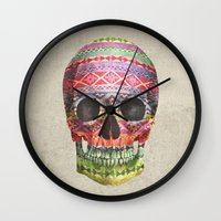 navajo Wall Clocks featuring Navajo Skull  by Terry Fan