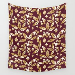 Christmas pattern.Gold sprigs on a dark Burgundy background. Wall Tapestry