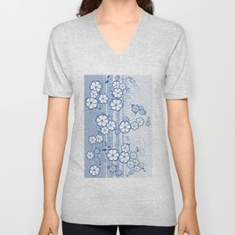 Abstract flowers with background Unisex V-Neck