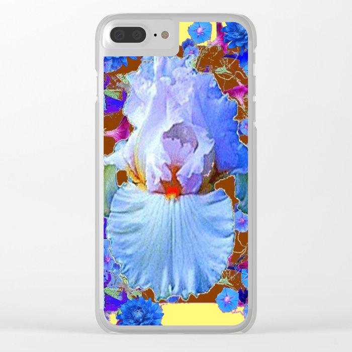 PASTEL IRIS & BLUE  BLUE FLOWERS YELLOW PATTERNS  FLOWERS ART FLOWERS Clear iPhone Case