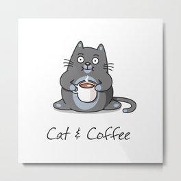 Cat & Coffee Metal Print