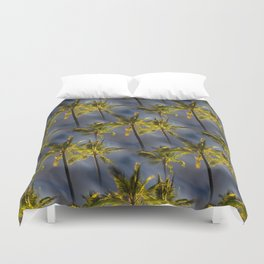 Palm Trees Tropical Night Pattern Duvet Cover