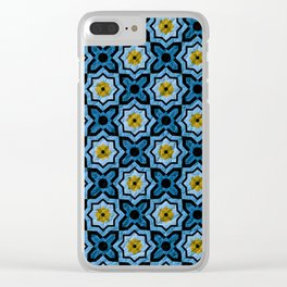 V6 Blue Traditional Moroccan Natural Leather - A4 Clear iPhone Case
