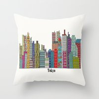 tokyo Throw Pillows featuring Tokyo by bri.buckley