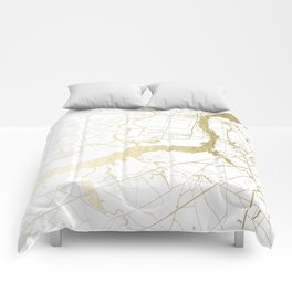 Philidelphia - White and Gold Comforters