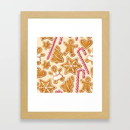 Gingerbread Cookies & Candy Canes Framed Art Print