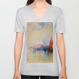 Thomas Moran - Venice, The Lagoon Looking Toward Santa Maria Della Salute Unisex V-Neck