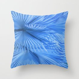 Blue Tropical Jungle Palm Leaves Throw Pillow