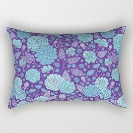 Bright Blue & Purple Floral Print Rectangular Pillow