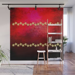 Red and black textured background decorated with gold flowers Wall Mural