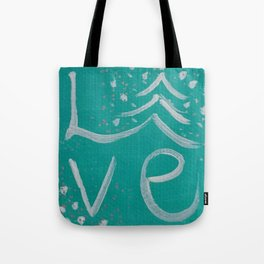 Teal,White and Silver Christms Tree Love Tote Bag