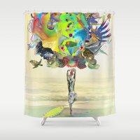 archan nair Shower Curtains featuring Aurantiaca by Archan Nair