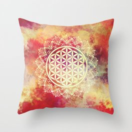 Flower Of Life (Sunset Skies) Throw Pillow