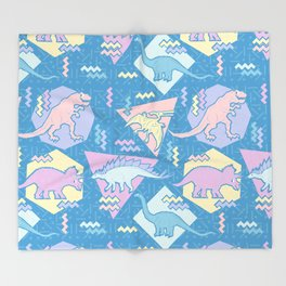Nineties Dinosaurs Pattern  - Pastel version Throw Blanket