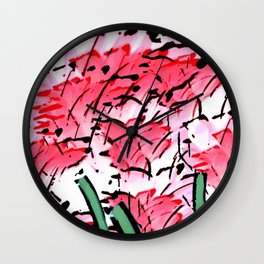 Flower Garden In Shades Of Red And Pink Wall Clock