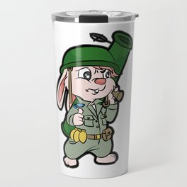 CUTE BUNNY WITH BAZOOKA Soldier Pacifist Private Travel Mug