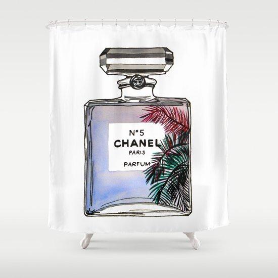 Palm tree perfume fashion illustration  Shower Curtain