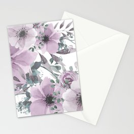 Floral Watercolor, Purple and Gray Stationery Cards