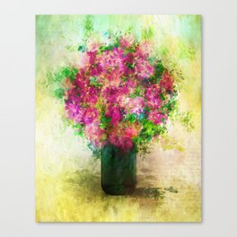 Roses and Wildflowers in Mason Jar Canvas Print