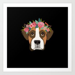 Boxer dog breed with floral crown cute dog gifts pure breed Boxers Art Print