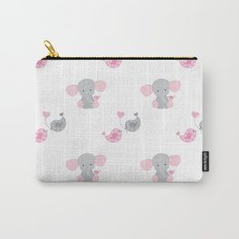 Pink Elephant Chickadee Bird Heart Carry-All Pouch