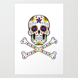 Sugar Skull & Cross Bones Art Print