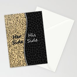 Leopard Print His Side Her Side Stationery Cards