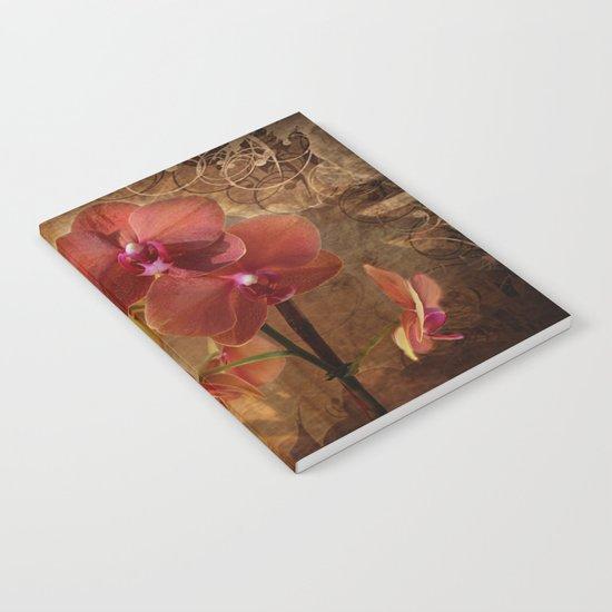 Vintage Burnt Orange Orchid Notebook