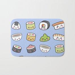 Happy kawaii sushi pattern Bath Mat
