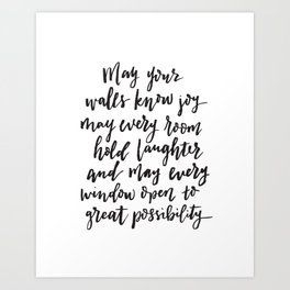 May your walls know joy - Blessing for the home - Hand lettered brush quote Art Print
