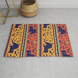 Walking With Elephants Rug