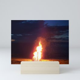 Blazing Beach Bonfire Mini Art Print