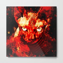 sphynx cat from hell ws Metal Print