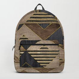 Geometric Wooden texture pattern Backpack