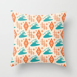 Mid Century Modern Space age Boomerang Pattern Turquoise and Orange 329 Throw Pillow