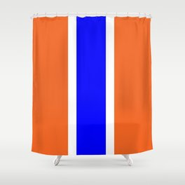 TEAM COLORS 10....ORANGE AND BLUE Shower Curtain