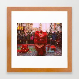Chinese Lion Dance in Chinatown, NYC Framed Art Print